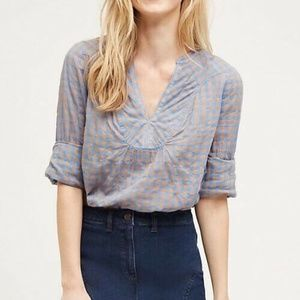 Holding Horses Anthro Blue Gingham Tunic Top
